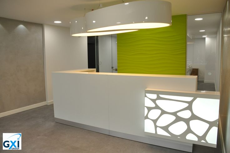 Organic reception desk project with Ellipse lamps by GXI Group