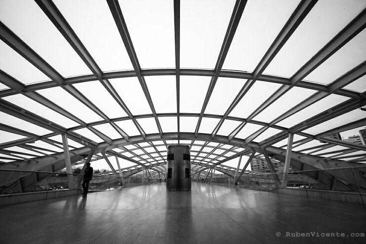 Man walking at Gare do Oriente. Lisbon, Portugal