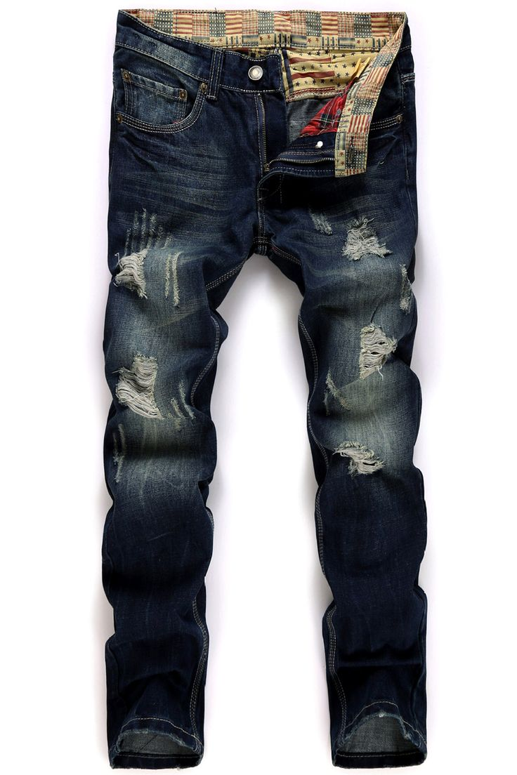 $24.88 Straight Leg Broken Hole Design Jeans