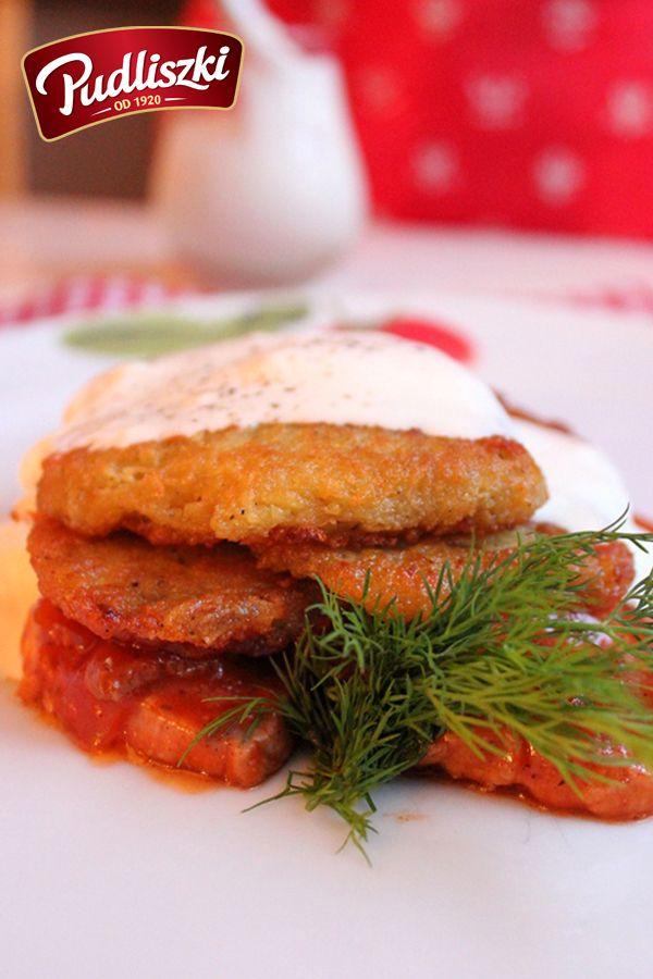 Placki ziemniaczane z polędwiczką wieprzową w sosie pieczarkowym. #wieprzowina #sos #pieczarkowy #obiad #pudliszki #przepis