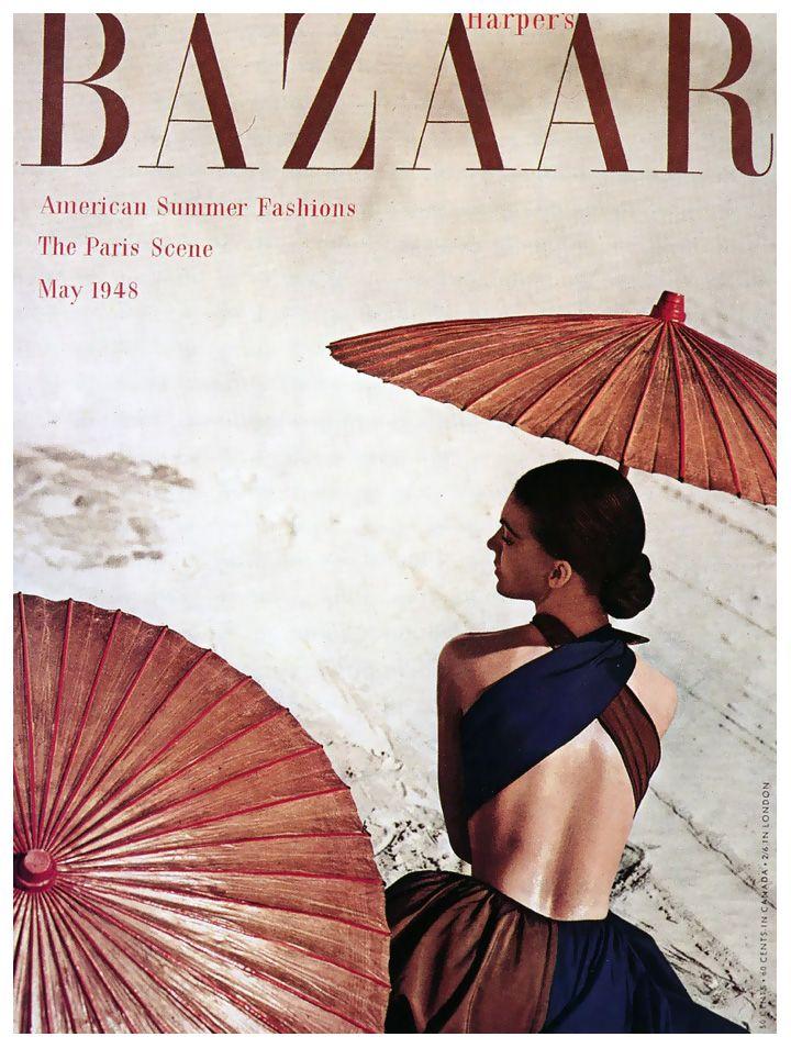 Model in dress by Joset Walker, cover photo by Louise Dahl-Wolfe, California, Harper's Bazaar, July 1948