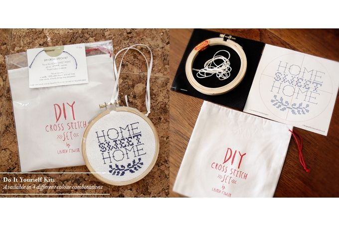 DIY x-stitch sets by Lauren Fowler
