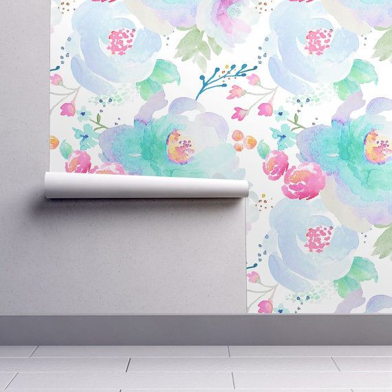 Watercolor Floral Wallpaper Floral Blues B by Indy by Spoonflower