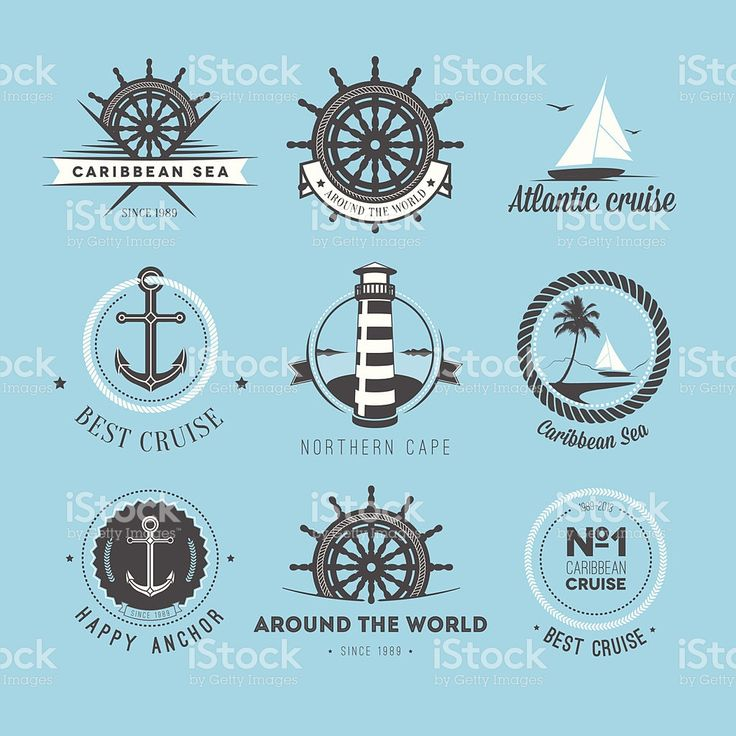 Set of vintage nautical labels and icons royalty-free stock vector art