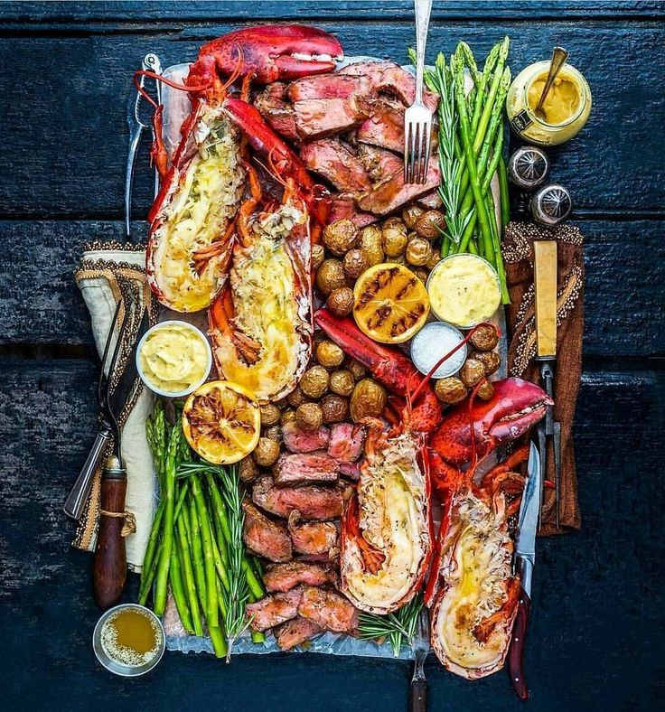 Woodfire-grilled surf & turf platter with prime-grade tenderloin steak fresh Maine lobster a garden of fresh greens and fragrant herbs. Gorgeous. Brilliant. Cheers! -David  . Courtesy: Dennis the Prescott | @dennistheprescott  #myfoodeatsyourfood #manvswild #seafood #pescatarian #paleo #crab #shrimp #photooftheday #feedfeed #adventure #love #lobster #steak #surfandturf #instagood #foodstagram #foodgasm #foodporn #nusret #beer #bbq #barbecue #grill #grilling #beautifulcuisines #chef #feedme…