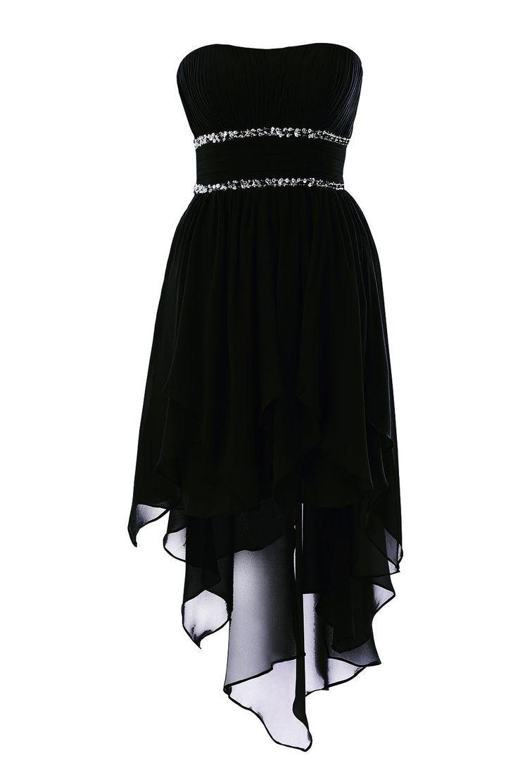 YiYaDawn Asymmetrische Ballkleid Abendkleid Vokuhila Kleid für Damen Größe 34 EU Schwarz