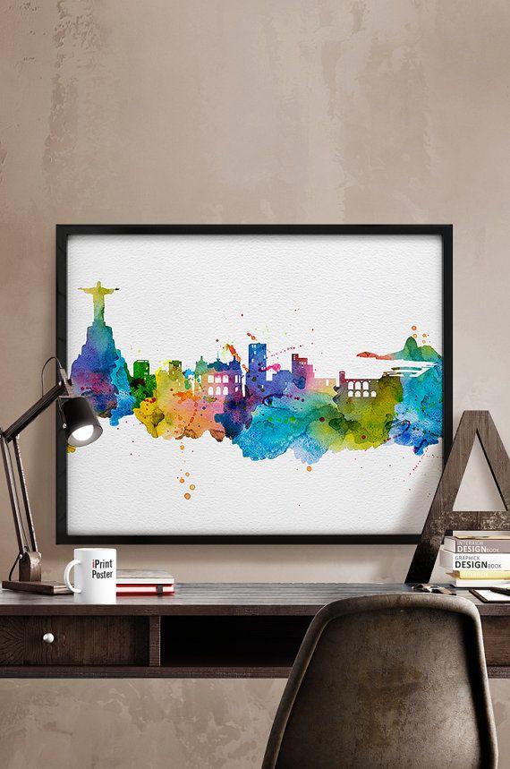 Rio de Janeiro skyline Rio de Janeiro watercolor by iPrintPoster