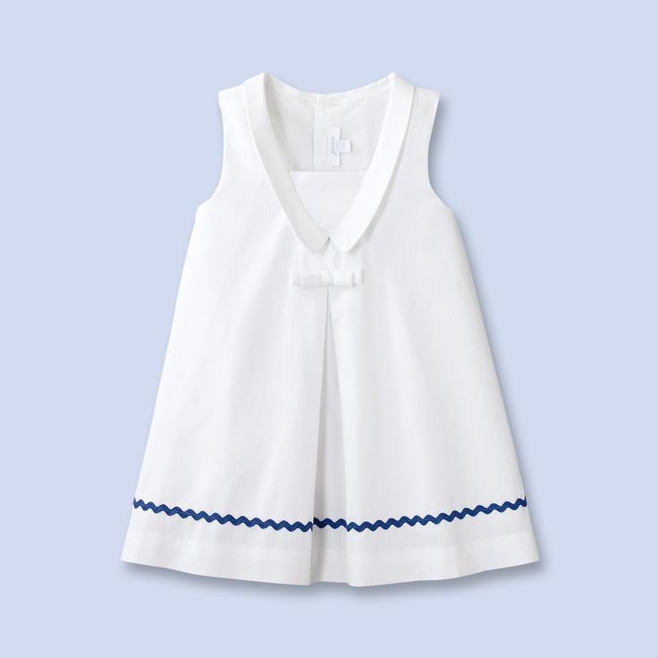 Robe en seersucker blanc pour bébé fille
