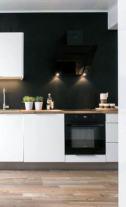 Черные стены в интерьере кухни.