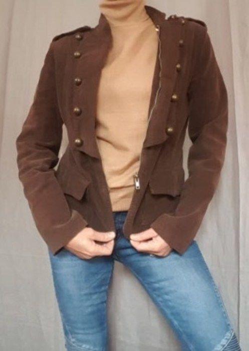Veste en velours fine côte marron Best Mountain, revers style officier - BE+ - Taille M - col droit - fermeture zippée - p...