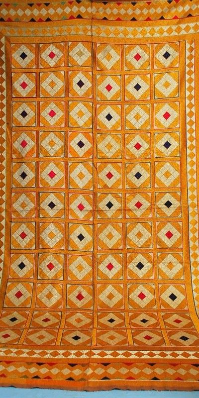 Antique Densely Embroidered Phulkari Bagh Wedding Textile PunjabSOLD ~ CAROLYN FORBES / TEXTILES
