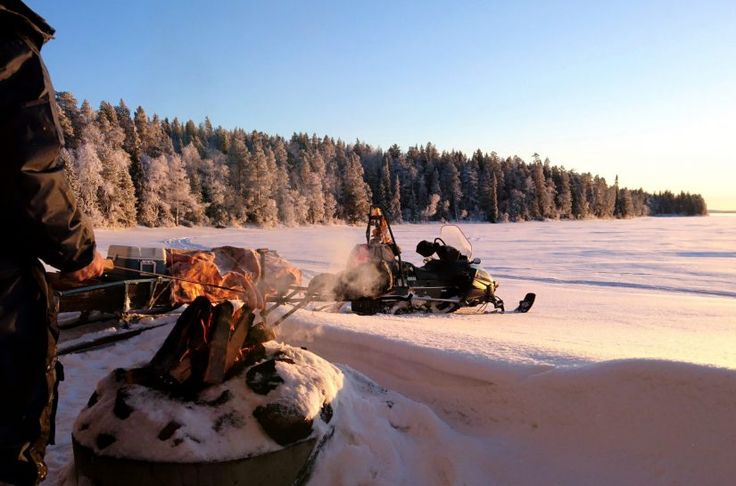 Winter time at Lake Miekojärvi in Pello in Lapland
