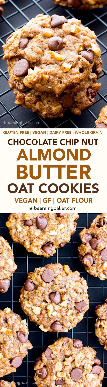 Vegan Almond Butter Chocolate Chip Walnut Oat Cookies (V, GF, DF): an easy recipe for chewy, crispy almond butter cookies deliciously made with whole ingredients. #Vegan #GlutenFree #OatFlour #DairyFree | BeamingBaker.com