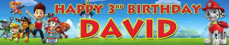 PAW PATROL PERSONALISED BIRTHDAY BANNERS PACK OF TWO OPT3 in Home, Furniture & DIY, Celebrations & Occasions, Party Supplies | eBay