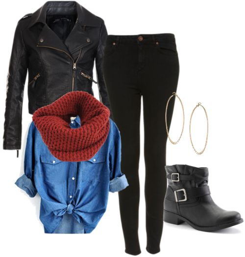 black skinny pants, denim button up that ties in front, red infinity scarf, short black buckle boots, and a black leather jacket.