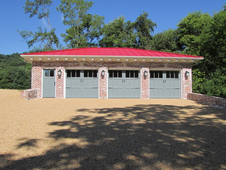 wonderful custom detached garage #6: Front view - custom detached garage with red roof, white-wash brick, heated