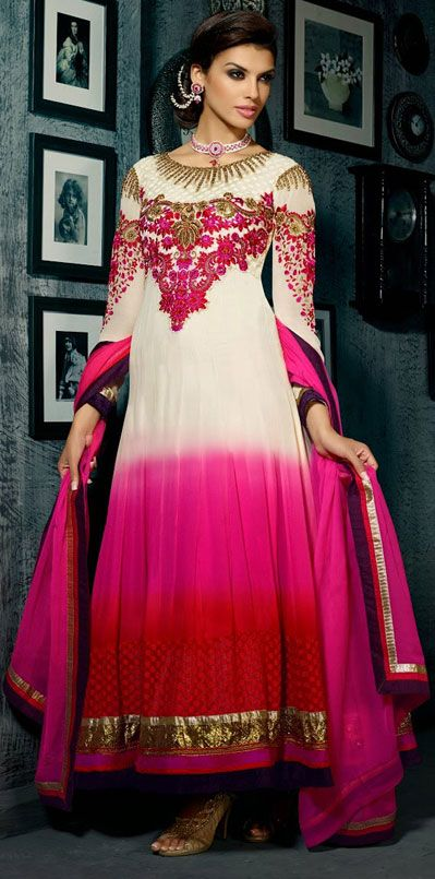 USD 62.04 White Georgette Ankle Length Anarkali Suit 42527