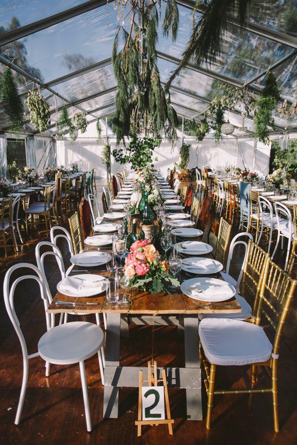 greenhouse wedding reception - photo by Lara Hotz http://ruffledblog.com/a-garden-greenhouse-wedding-in-australia #weddingreception #receptiontable #weddingideas