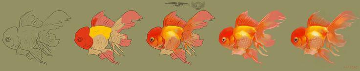 Gold fish painting progression by KingRedDark