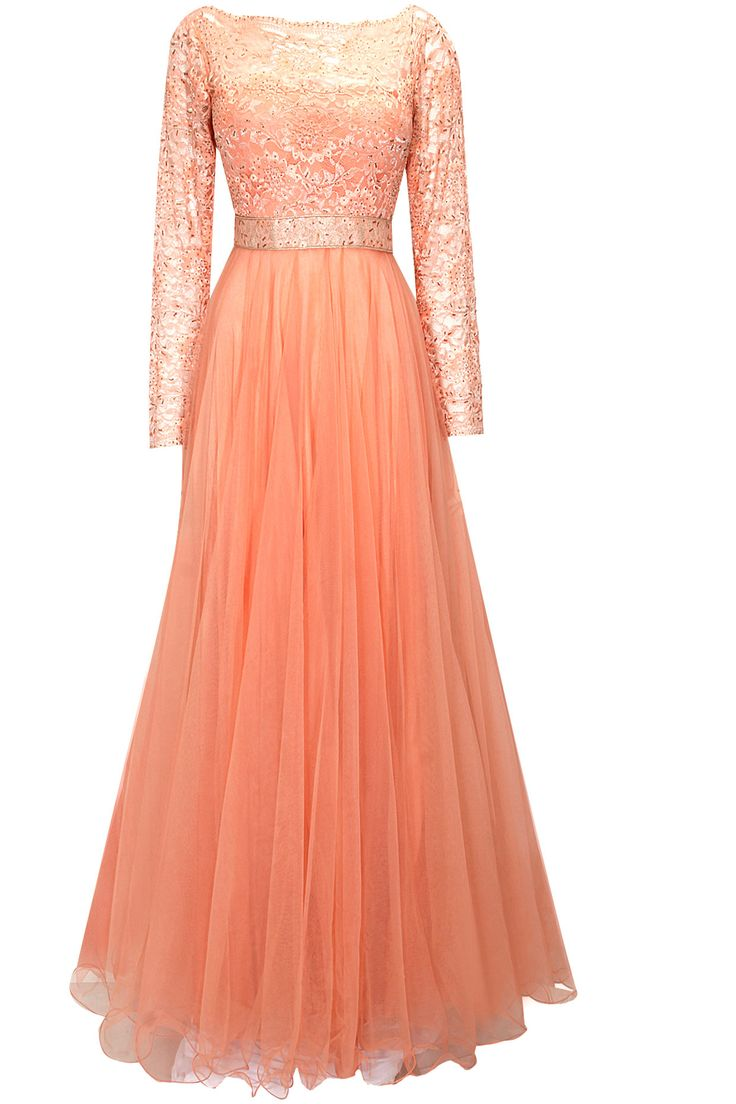 Peach crystal embellished chantilly lace gown available only at Pernia's Pop-Up Shop.