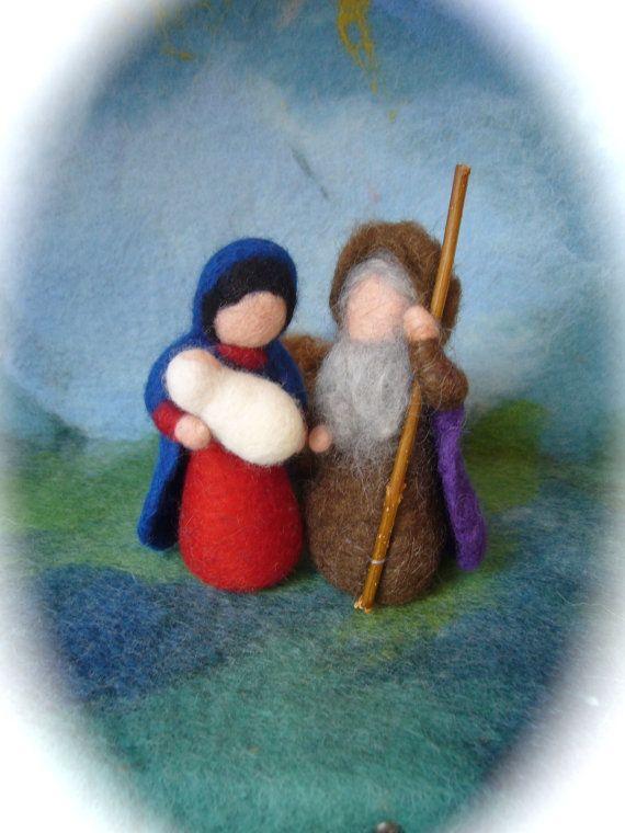 Wet felted Nativity Set. Waldorf .12 pieces. by FilzArts on Etsy