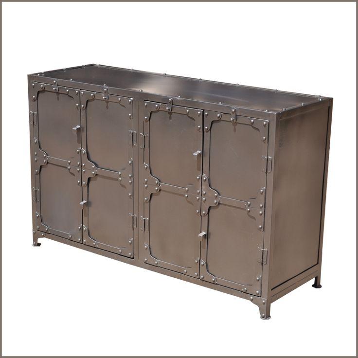 Industrial Wrought Iron Metal Kitchen Dining Room 4 Door Buffet Cabinet Credenza