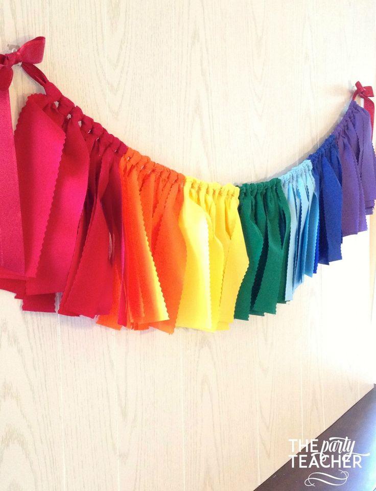 Rainbow Fabric Tie Garland