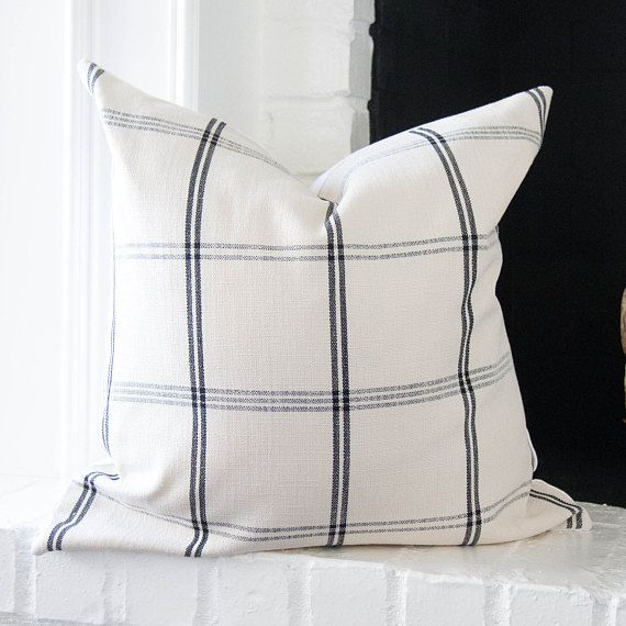 Black And Off White Plaid Pillow Cover 20x20 Modern Farmhouse Etsy Farmhouse Pillows Plaid Pillow Covers 20x20 Pillow Covers