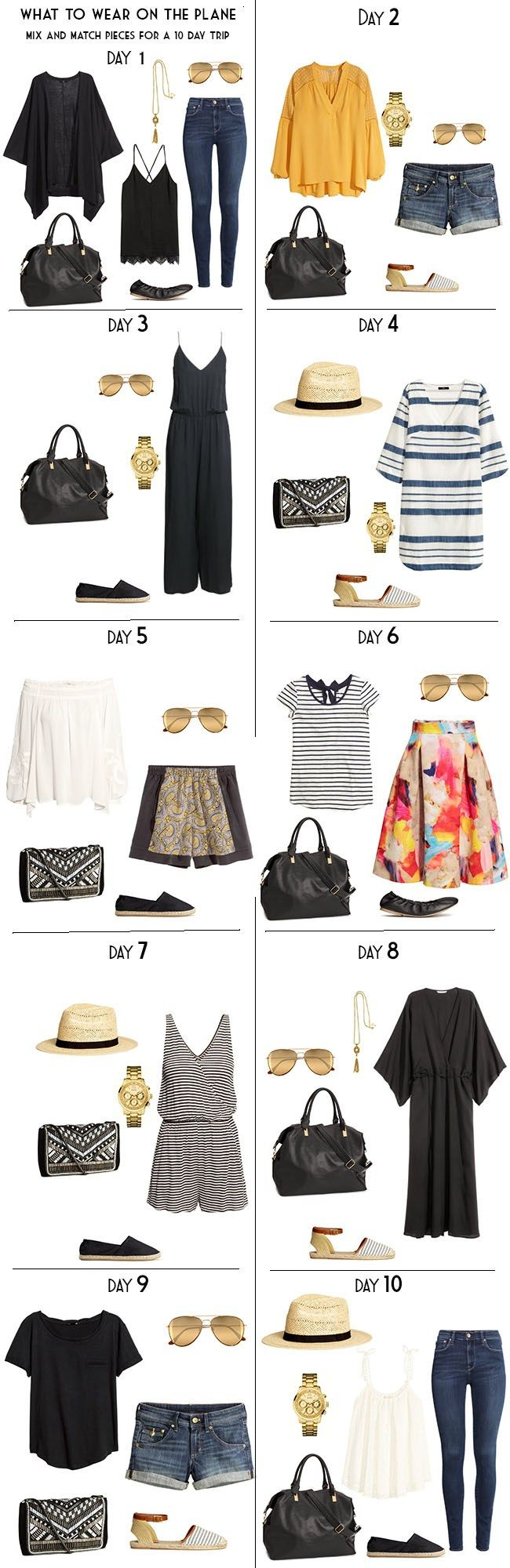 Packing for a summer vacation, including airport outfits/what to wear on the plane.