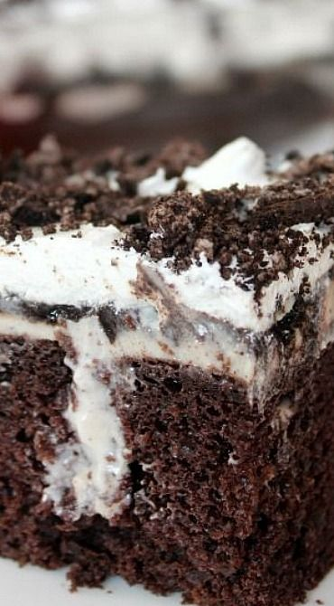 Oreo Poke Cake~I couldn't find oreo pudding so used vanilla instead. Didn't add the top layer of crushed cookies either but with that said it was delicious!