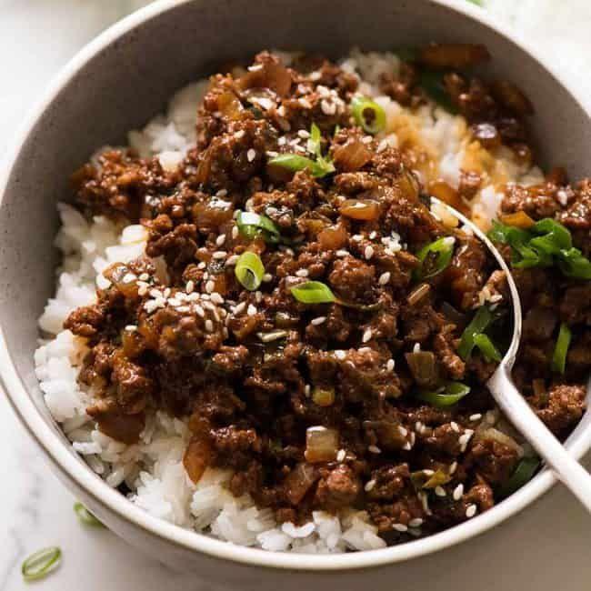 Asian Beef Bowls Super Quick Recipe Minced Beef Recipes Asian Beef Beef Bowls