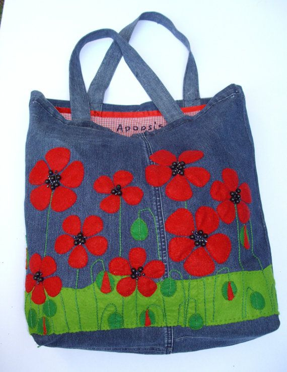 Re purposed denim tote handbag/shopper/everyday/carry all/stylish/eco friendly/ Popies are red by Apopsis SOLD