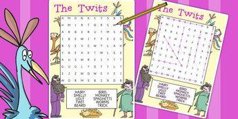 The Twits Wordsearch - wordsearch, the twits, roald dahl, book