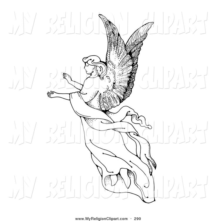Angel clipart black and white