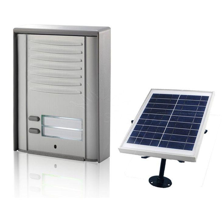 UP200-GSM-RD-S-KIT   Dwuprzyciskowy domofon z GSM z podświetleniem LED + Zestaw solarny [ 2 Abonentów + Solar ]