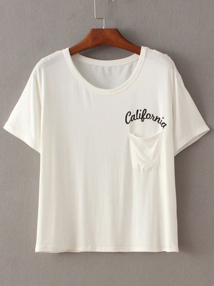 Shop Letters Print Pocket Beige T-shirt online. SheIn offers Letters Print Pocket Beige T-shirt & more to fit your fashionable needs.