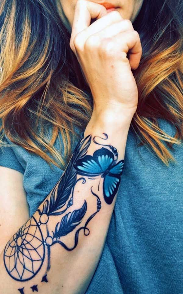 Dream Catcher Forearm Tattoo : dream, catcher, forearm, tattoo, Forearm, Tattoo, Ideas, Butterfly, Dreamcatcher, Designs, Right, Forear…, Tattoos,, Cover, Women