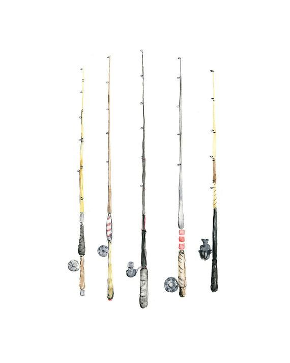 8x10 Fishing Rods Watercolor Giclee Print Watercolor Fish