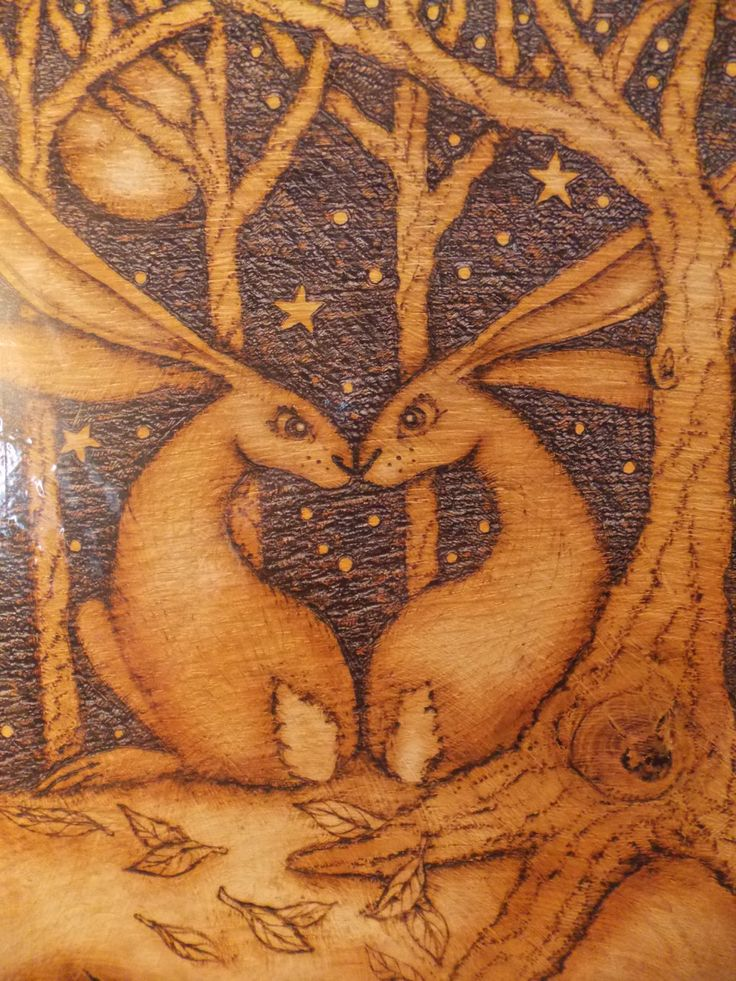 Print of Original Wood Burning Love Heart Hares by salixpyrography on Etsy