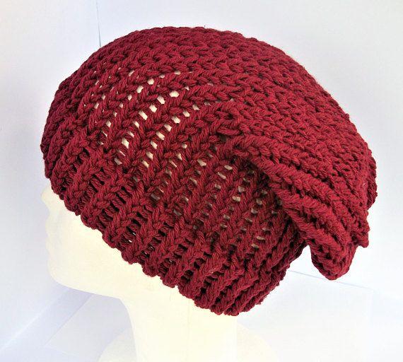 Red slouchy beanie recycled wool beanie bohemian beanie