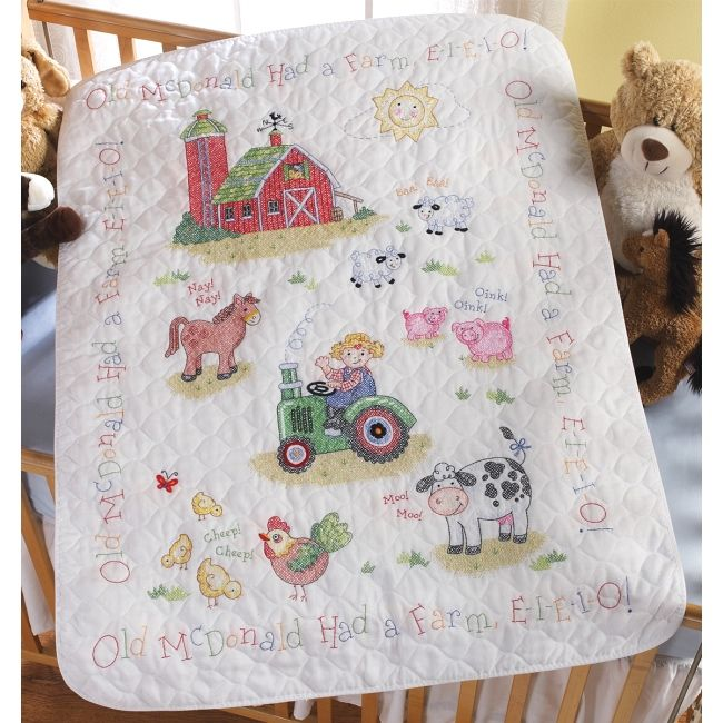 The On the Farm Baby Quilt Kit is a Stamped Cross Stitch Kit from Bucilla.  The classic children's song