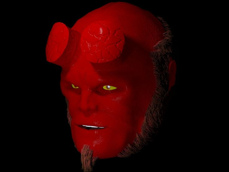 3d max Hellboy   render withouth texture, just material and normal