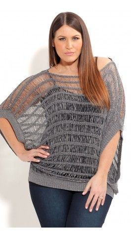 Plus Size Metalliic Tape Yarn Jumper - City Chic - City Chic