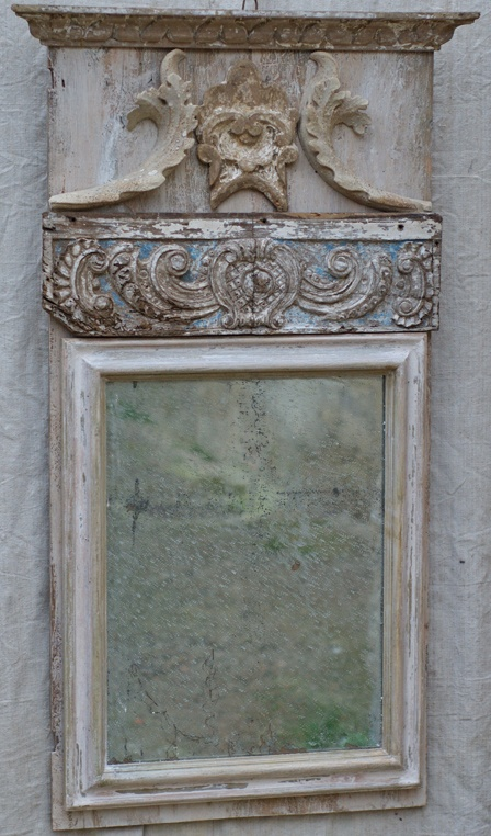 Antique mirror with grey antique tones