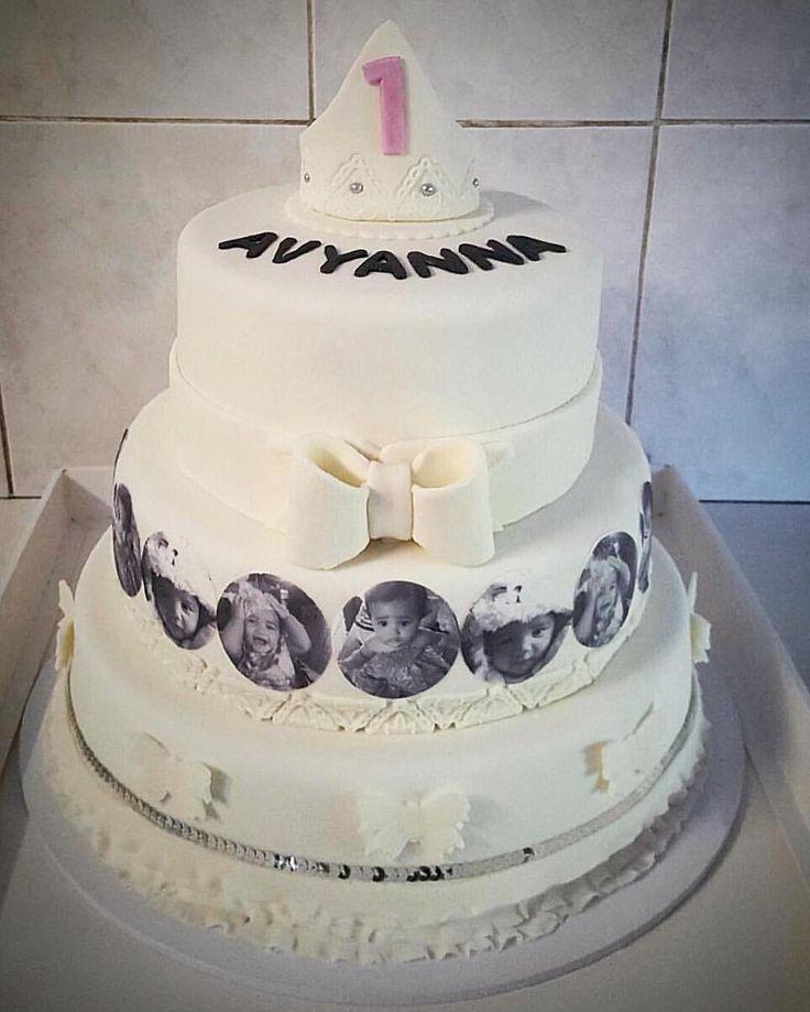 3-tier 1st Birthday Cake : bottom tiers are Chocolate Mud, top tier is White Chocolate Mud, Marshmallow Fondant.