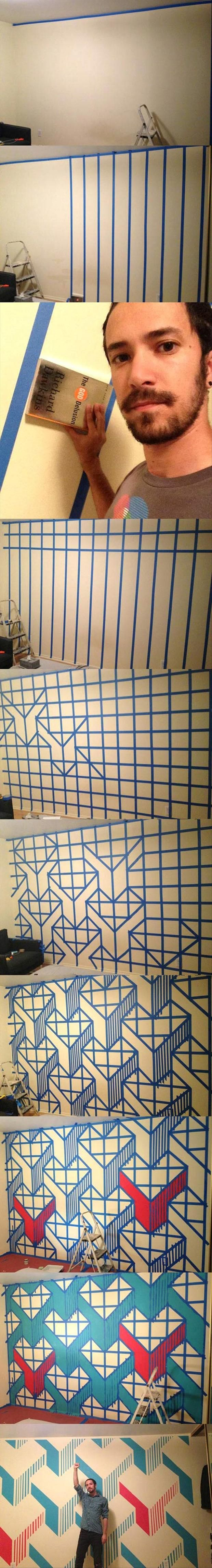 Woah. Use painters tape and a book to make awesome geometrical designs