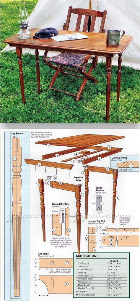 Civil war folding table plans furniture plans and for Planos de carpinteria de madera
