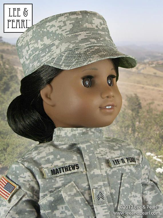 We made this perfect-in-every-detail uniform for our American Girl doll using fabric from our Spoonflower shop, and L&P Pattern 1010: Army Combat Uniform Bundle and L&P Pattern 1006: Patrol Cap for 18 Inch Dolls. What will you make with #leeandpearl patterns for dolls?