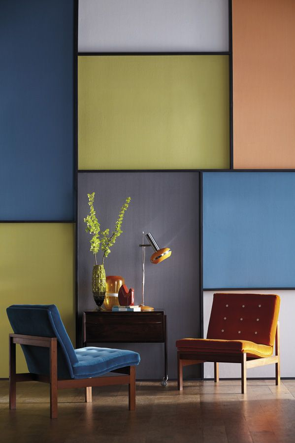 Create an abstract wall by using Harlequin's stitch wallpapers in vibrant block colours