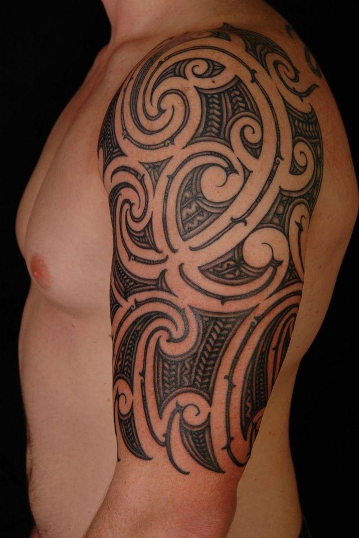 Hawaiian Tribal Tattoo Design On Left Half Sleeve - http://tattooideastrend.com/hawaiian-tribal-tattoo-design-on-left-half-sleeve/ - #Design, #Left, #Sleeve